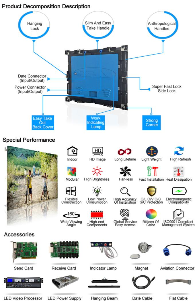 HD Advertising Stage Rental LED Display P5 Full Color TV Screen 640x640mm Cabinet