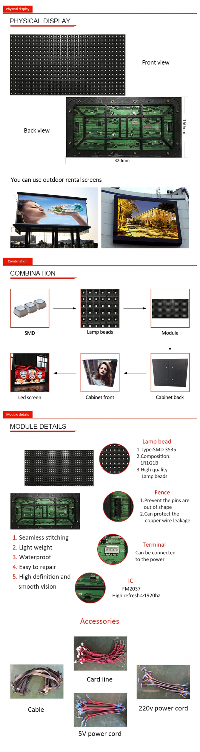 SMD RGB LED screen module , P10 outdoor full color LED display module with 1/4scan 0