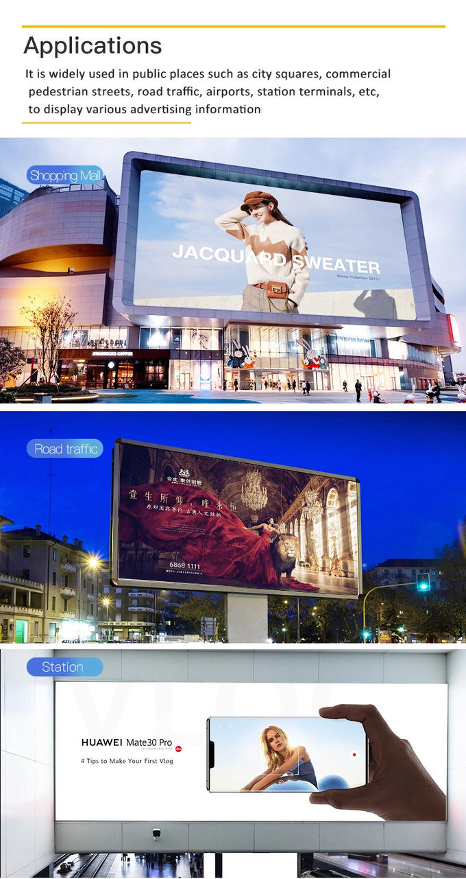 SMD2727 Outdoor Full Color Led Signs High Brightness 1R1G1B For Advertising